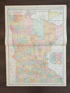 Large 28 X 21 Color Rand Mcnally Map Of Minnesota 1905