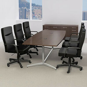 6 10 Ft Modern Conference Table And Chairs Set With Metal Base Boardroom Room 8