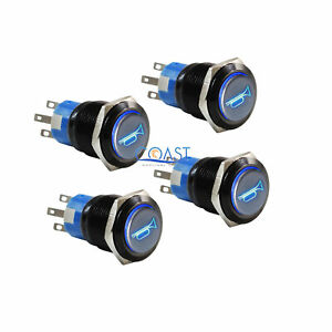 4x Durable 12v Blue Led 19mm Momentary Car Horn Push Button Toggle Light Switch