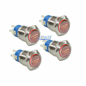 4x Durable 12v Red Led 19mm Momentary Engine Start Push Button Toggle Switch
