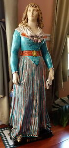 Rare Barbotine Majolica Faience Statue of Madame Roland Emile Francis Chatrousse