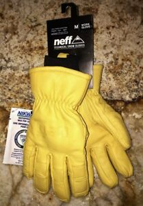 Neff Technical Snow Winter Tan Insulated Leather Work Gloves New Mens Sz S Small