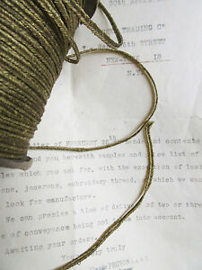 Vintage Antique French Gold Metallic Soutache Braid Trim 1 8 Military 3yd