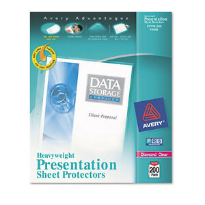 Avery 74400 Acid Free 200 Diamond Clear Presentation Sheet Protectors Heavy