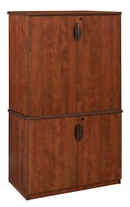 65 h Office Storage Cabinet Modular Stackable Wooden Wood Cherry Mahogany Maple