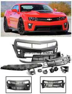 For 10 13 Camaro Zl1 Style Front Bumper Cover Upper Lower Grille Fog Lights