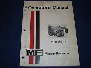 Massey Ferguson Mf 1500 Mf 1800 Tractor Operation Maintenance Book Manual