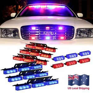 54 Red Blue Led Emergency Warning Car Truck Strobe Lights Bar Deck Dash Grill