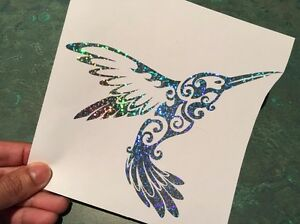 Humming Bird Tribal Silver Glitter Holographic Vinyl Decal Sticker Car Window