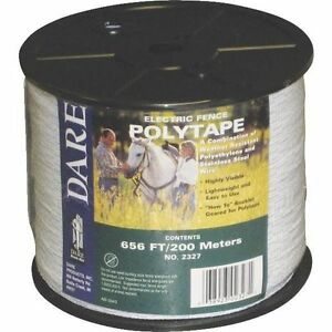 Usa Dare 1 1 2 Poly White Electric Fence Horse Tape 656ft Heavy Duty Equine