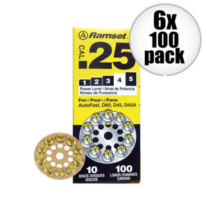 6pk 10 Discs Of 10 600 Total 4 Yellow 25 Cal Round Disc Loads Ramset 4d60 New