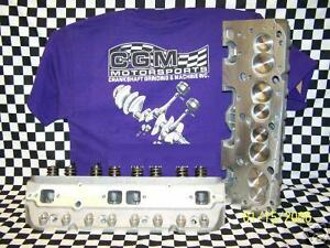 Complete Sbc Aluminum Angle Plug Sb Chevy 400 Cylinder Heads Race 64cc