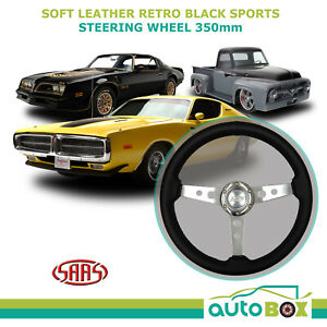 Saas Soft Leather Retro Black Sports Steering Wheel Alloy Spokes 350mm Classic