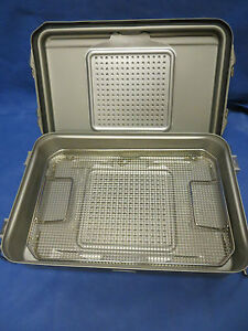 V Mueller 3 4 Length Sterilization Case Container With Stainless Basket