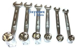 6 Pc Flex Flexible Head Double Ended Socket Spanner And Open Wrench Set Sae