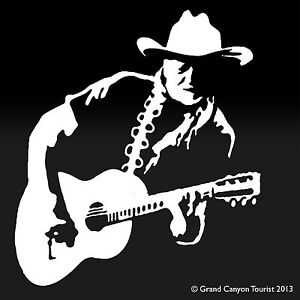 22 W Lg Format Willie Nelson Country Singer Songwriter Guitar Decal Sticker