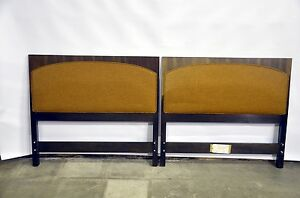 Pair Of Twin Walnut Upholstered Headboards By Directional Harvey Probber