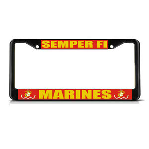 Semper Fi Marines Military Black Metal Heavy License Plate Frame Tag Border