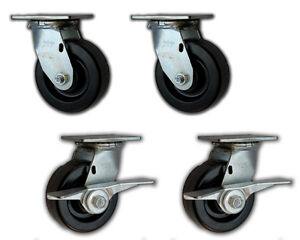 5 X 2 Heavy Duty Swivel Casters W Phenolic Wheels 4000 4 Pk 2 With Brakes