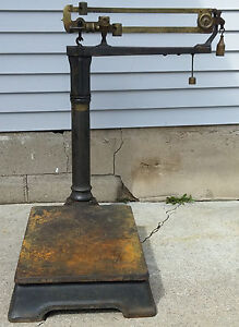 Antique Late 19th C Cast Iron Brass Faribanks Wi Cheese Factory Platform Scale