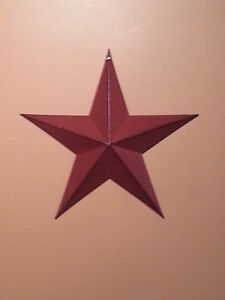 12 Burgundy Barn Star New Primitive Metal Stars Distressed Country Decor