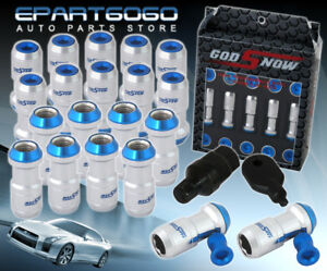 M12x1 5mm 20 Piece Silver Blue Tuner Jdm Vip Style Extended Long Lug Nuts Lock