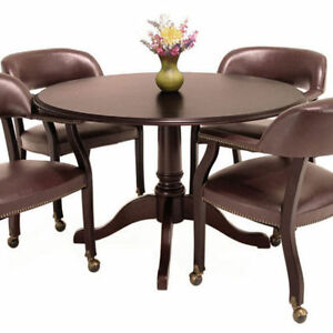 Traditional Round Conference Table And Chairs Set Meeting Office Room Mahogany