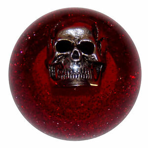 Red Glitter Skull Shift Knob M16x1 50 Fits Camaro Trans Am Firebird