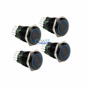 4x Durable 12v 25mm Car Push Button Blue Angel Eye Led Latching Light Switch