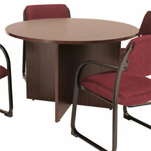 Round Conference Table Meeting Office Room Wood Mahogany Cherry Ash Gray 42 48