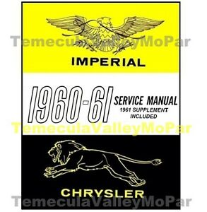 Factory Shop Service Manual For 1960 1961 Chrysler Imperial