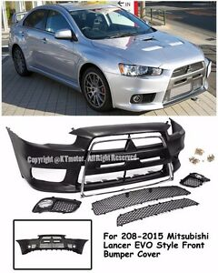 Evo X 10 Jdm Style Front Chrome Trim Bumper Cover For 08 15 Mitsubishi Lancer