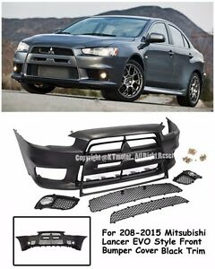 Evo X 10 Jdm Style Front Black Trim Bumper Cover Kit For 08 15 Mitsubishi Lancer