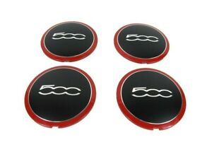 12 18 Fiat 500 Wheel Center Cap Black With Red Trim Set Of 4 Fiat Mopar Genuine