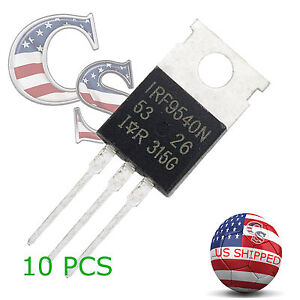 10 X Irf9540 P channel Power Mosfet 23a 100v To 220 ir
