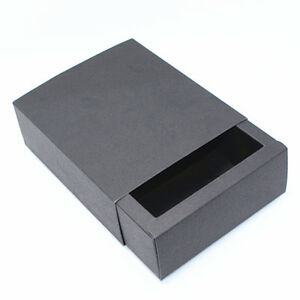 Black Kraft Paper Boxes Gift Craft Box Drawer Style Handmade Packaging Jewelry