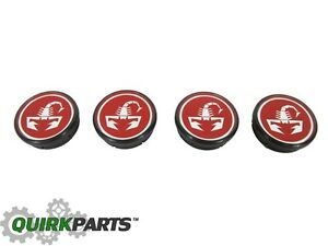 2012 2017 Fiat 500 Scorpion Wheel Center Caps Set Mopar Genuine Oem 4726183ab