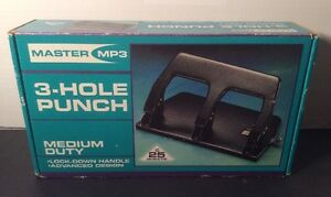 New In Box Master Products Mp3 Medium Duty 3 hole Punch 25 Sheet Cap 9 32 Hole