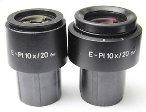 Pair Zeiss E Pl 10x 20 Glasses Microscope Eyepieces 30mm 444232 444231 E pl