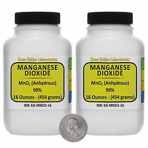 Manganese Dioxide mno2 99 Acs Grade Powder 2 Lb In Two Wide mouth Bottles Usa