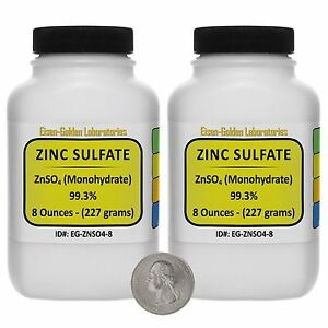 Zinc Sulfate znso4 99 3 Acs Grade Powder 1 Lb In Two Space saver Bottles Usa