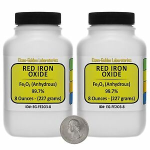 Red Iron Oxide fe2o3 99 7 Acs Grade Powder 1 Lb In Two Wide mouth Bottles Usa