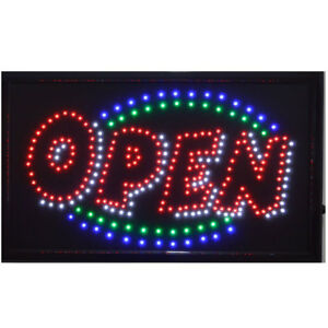 Large Animated Led Neon Business Open Sign W Flashing Static Switch 21 X13