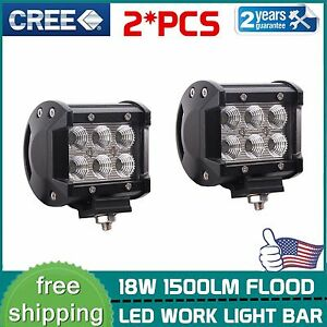 2x 18w Cree Led Work Lights Pods Flood Offroad Lamp For Atv Jeep Ute 4inch Cube