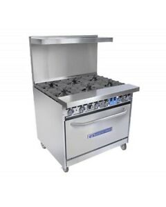 Bakers Pride 36 bp 6b s30 Restaurant Series 6 Burner 30 Oven Nat Or Lp Gas