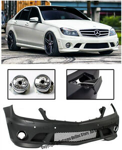 Amg Style W Pdc Front Bumper Cover Fog Lights For 08 11 Mb W204 C Class Sedan