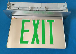 Exit Sign Green Mirror Gray Panel Led Surface And Recessed Mount Edge Lithonia