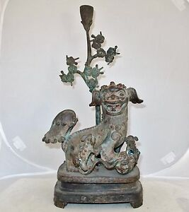 Antique Chinese Bronze Foo Dogs Or Shi Shi Temple Lions Statue 15 5 Tall