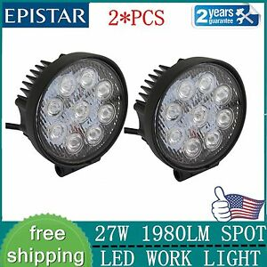 2x27w Round Led Work Light Spot Beam 12v 24v Offroad Driving Fog Lamp 4wd Suv