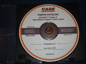Case 450 450ct Series 3 Skid Steer Compact Track Loader Parts Book Manual Cd